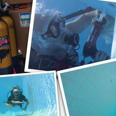 Réparation piscine en plongee sous marine