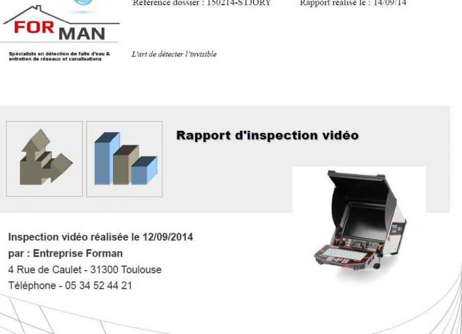Rapport inspection video canalisation